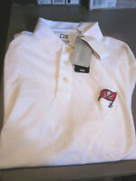 NWT CUTTER&BUCK NFL TAMPA BAY BUCCANEERS BUCS MENS DRYTEC POLO SHIRT WHITE SMALL