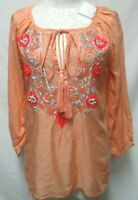 Boston Proper beaded jeweled Tunic Top Blouse w/ Lace Rayon Size Sz X-Small XS