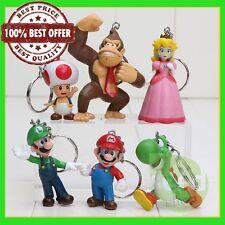 Super Mario Bros Donkey Kong Yoshi Peach Mario Luigi Toad Action Figure keychain