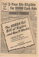 ARMY TIMES Veterans Edition (1953) 12-page Korean G.I. Bill of Rights newsletter