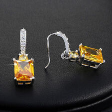 4Carat Yellow AAA Cubic Zirconia Dorp/Dangle Earrings Birthday Anniversary Gifts