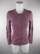 Talbots Petite Women's sz PM Purple Pima Cotton Cable Knit Cardigan Sweater