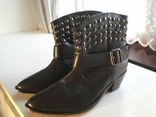DOROTHY PERKINS - BRAND NEW LADIES BLACK STUDDED ANKLE BOOTS - SIZE 8