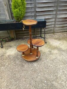 Vintage French Wood And Brass Tiered Plant / Drinks Stand Table