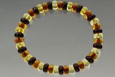 Button Shape Beads Genuine Baltic Amber Stretch Bracelet 7.2g b170607-26