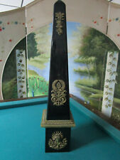 """OBELISK FINIAL BLACK FRENCH CERAMIC WITH BRASS DECOR 25"""" SALVAGE"""