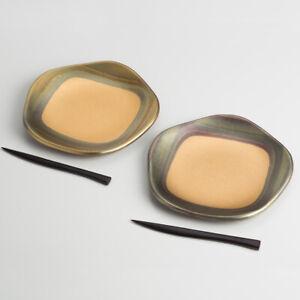 Kanazawa Gold Ancient Foil Plum Shaped Signature Plate 2P Confectionery Handmade