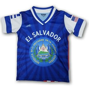 El Salvador/ USA Kids Short Sleeve Jersey Blue/White/Red New In Bags
