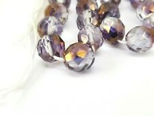 10mm Czech fire-polished, Clear Purple AB Round Faceted Glass Vintage Beads