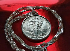 "1945 Silver Walking Liberty Pendant  w/ 24"" Italian Made Silver 2.5mm Wavy Chain"