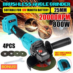 125mm Cordless Brushless Angle Grinder + 4 Disc For 18V Makita Battery DGA504Z
