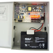 CCTV Power Supply Box Lock Case 10 amp 9 way with Battery Backup