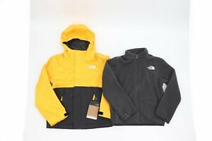 NWT NORTH FACE YOUTH BOYS VORTEX TRICLIMATE 3 IN 1 JACKET SUMMIT GOLD GREY