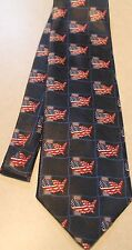 New listing Lot's Of American Flags Usa On A Brand New Navy Blue Polyester Neck Tie #1221