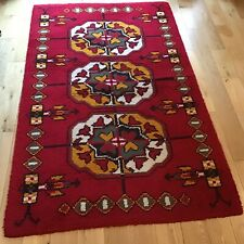 Vintage Retro HAND WOVEN WOOL RUG 210x155cm Red, Yellow, Brown, Green, Cream