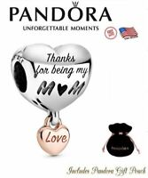 Authentic PANDORA S925 I Love You Mothers Day Heart Two Tone Bracelet Charm