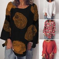 ZANZEA Women Casual Loose Oversize Tops Shirt Long Sleeve Crew Neck Print Blouse