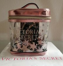 VICTORIAS SECRET ROSE GOLD CELESTIAL SHIMMER COSMETIC BAG MAKEUP TRAIN CASE