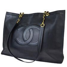 Authentic CHANEL CC Chain Shoulder Tote Bag Leather Black Gold Vintage 57EY033
