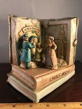 """Vintage English Book Of Charles Dickens """"White Christmas"""" Music Box Mib"""