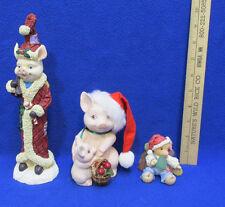 Tall Christmas Pig Figurine Enesco Sweet Christmas Gumdrop Mama & Baby Lot of 3