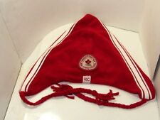 HBC Hudson's Bay Canada Olympic RED WHITE Hat SLOUCH TASSELS BRAIDS  ADULT   EUC