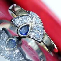 18k 750 multi tone gold ring 0.55ct Ceylon sapphire diamond size 7 vintage 5.3gr