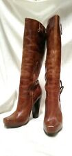 Jessica Simpson Knee High Distressed Leather Boot Block Pumps Size 9.5 US Women