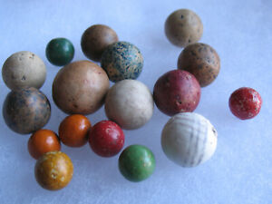 """Vintage Mixed Lot of 17: Ceramic Clay Bennington Marbles Patterned Peewee -.71"""""""