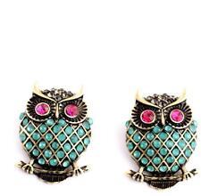 Betsey Johnson Jewelry mosaic rhinestone owl simple female gifts earrings Retro
