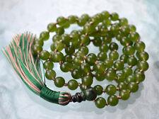 Hand Knotted Beads Mala, Healing Yoga Necklace Japa Mala 108 Green Olive Jade