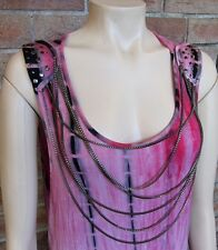 Pink / Black Tie-Dyed Chain & Stud Embellished Punk Tunic Dress ~ Size 12