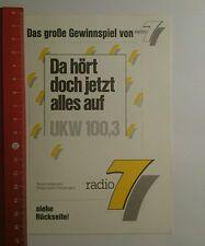 Aufkleber/Sticker: Radio 7 da hört doch jetzt alles auf Ukw 100,3 (130916156)