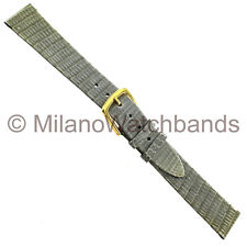 16mm Downing Gray Turned Edge Unstitched Genuine Lizard Mens Watch Band Regular