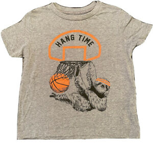 Boy's Gray T-Shirt with Basketball Sloth Graphic from Old Navy, Size XS (5)
