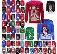 Mujer Navidad 3d Navidad Reno Santa Rudolph Árbol PUDDING Novedad Suéter Top
