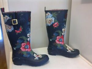 JOULES Floral Printed Tall Wellies With Adjustable Side Belt - size 38 / 5 UK