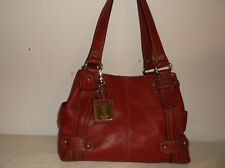 Tignanello Perfect 10 Studded Shopper Pebbled Red Leather Shoulder Bag