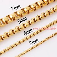 2/3/4/5/7mm Women MEN Chain Gold Stainless Steel Round Box Necklace or Bracelet