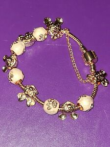 Pink And Rose Gold Colored Mickey Minnie European Charm Bracelet