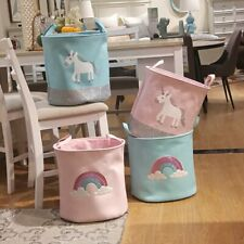 Laundry Basket Dirty Clothes Toy Storage Hamper Rainbow Unicorn Organizer Box