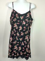 Pins and Needles Urban Outfitters Black Floral Slip Dress Size M Strappy Lace