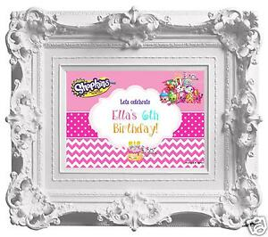 Personalised Shopkins Birthday Party Poster A4 Wall/ Table Sign Banner/ Welcome