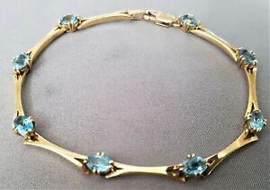 9ct Gold & Blue Topaz Bracelet.  Vintage.    Ref xadedmx
