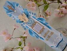 Taufkerze geschnitzt blau mit Taufspruch oder Foto Name und Datum Junge Mädchen