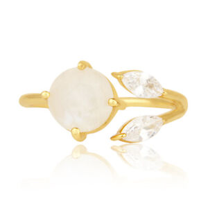 Women's 18k Gold Plated Brass Fashion Moonstone Ring Engagement Jewelry Gift