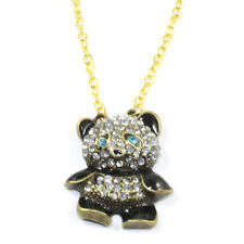 Fashion Rhinestone Crystal Panda Sweater Chain Girl Cute Animal Pendant Necklace