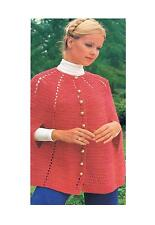 Ladies Crochet Pattern Retro Vintage Short Cape Poncho PATTERN ONLY One Size DK