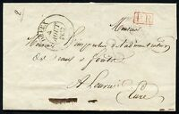 FRANCE STAMPLESS COVER DREUX 4 AUGUST 1837 PORTE PAY TO LOUVIERS AS SHOWN