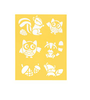 "Stencil Sheet OWLS SQUIRREL FOX Raccoon Critters 8 1/2"" x 11 Plastic Reusable"
